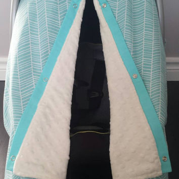 Infant car seat cover, Infant car seat canopy, Baby car seat canopy, Baby car seat cover, Carrier Cover, Infant Carrier, Minky, aqua, cream