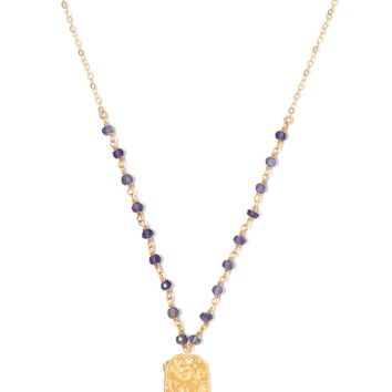 Tess and Tricia Lyra Denim Blue Beaded Chain + Penta Necklace