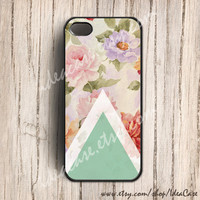 Geometric with Floral iphone case ,iphone 5 case, iphone 4s case, iphone 4 case, iphone cover,plastic iphone case