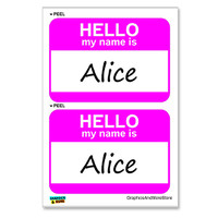 Alice Hello My Name Is - Sheet of 2 Stickers