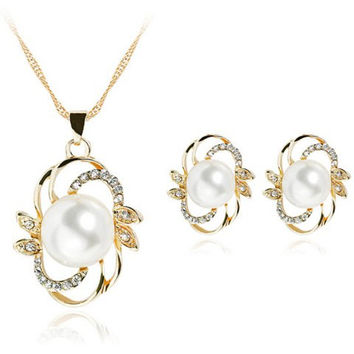 Vintage Faux Pearl Cut Out Necklace and Earrings
