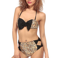 Leopard Print Bow Appetite Push Up Two Piece Swimsuit