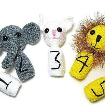 5 Crochet Finger Puppets, Amigurumi Finger Puppets with numbers