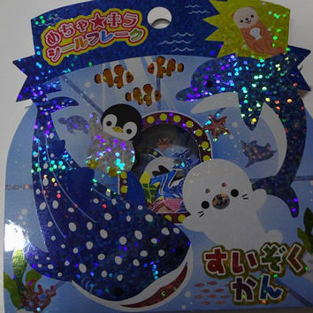 Kamio Japan kawaii penguin,turtle,fish AQUARIUM 61pcs stickers sack