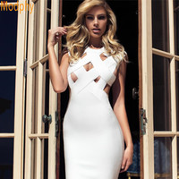 2016 new women white rayon lattice celebrity hl bandage dress black sexy hollow out elastic tight bodycon club party dress HL581
