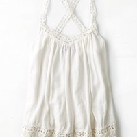 AEO 's Embroidered Crossback Tank (Cream)