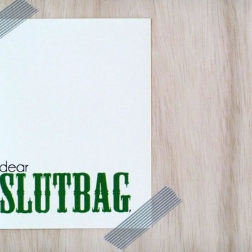 Pregnant Greeting Card - Dear Slutbag Congrats on Getting Knocked Up