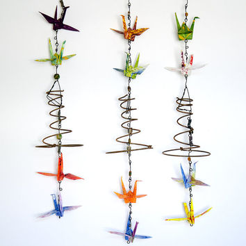 Mothers Day,Outdoor Art,Mobile,OOAK,Tyvek Origami Cranes,Garden Decor,Upcycled,Recycled,Industrial Salvage,Whimsical Art,Vicki Bolen
