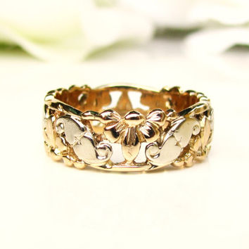 Vintage Heart Filigree Wide Wedding Band 14K White & Yellow Gold Eternity Ring Ladies Wedding Ring Vintage Stacking Ring Size 7