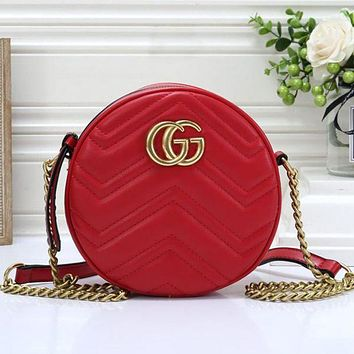 GUCCI New Fashion Round Leather Leisure Personality Shopping Women Shoulder Bag Crossbody Bag Chain Red