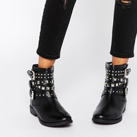ASOS AGRO Leather Studded Biker Boots