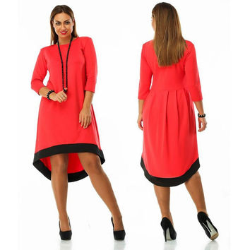 5XL Autumn Winter 2016 Women Dresses Elegant Casual Loose Big Hem Sleeve Bodycon Solid Color Vestidos De Festa Plus Size GV271