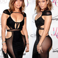 High Quality Sexy Club Dress Mesh Patchwork Black Bandage Bodycon Dress Womens Sexy Dresses Party Night Club Dress