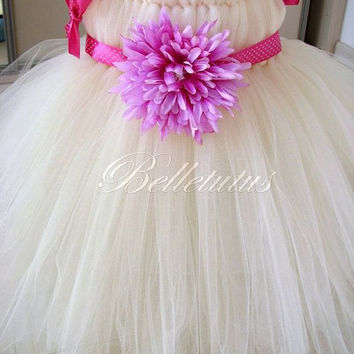 Ecru tutu dress – flower girl tutu – baby tutu dress – empire waist tutu – birthday tutu dress – wedding tutu dress – party tutu dress