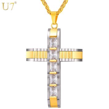 U7 Big Cross Necklace & Pendant Two-tone Gold Color Stainless Steel Cubic Zirconia Christian Jewelry For Men/Women Gift P1089
