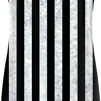 Beetlejuice simple dress, black and white vertical stripes pattern, worn out, dirty look, halloween style