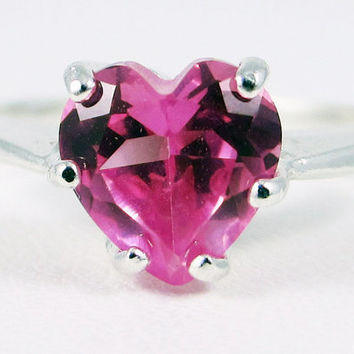 Heart Pink Sapphire Gemstone Sterling Silver Ring Handmade