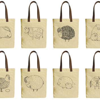 Smiling Farm Animals Beige Print Canvas Tote Bag Leather Handles WAS_30