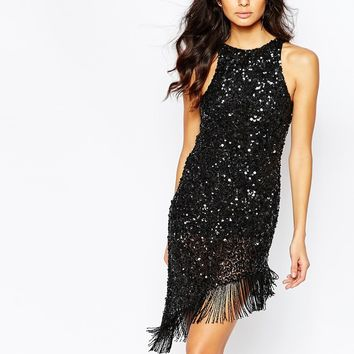 A Star Is Born Luxe Jewel Encrusted Asymmetric Mini Dress With Sequin Tassel Hem