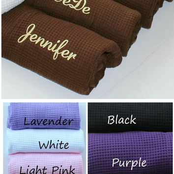 Personalized Bridesmaid Robe Wedding Party Gifts  Bride, Maid Of Honor, Bridesmaids Set of 5 Brown Waffle Weave RobesCustom Embroidery