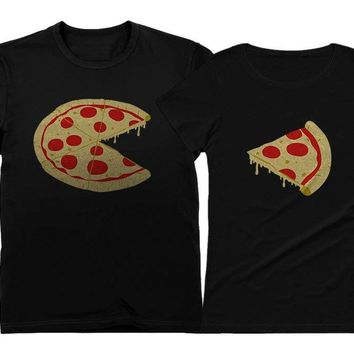 Missing Piece Pizza & Slice - His and Her Shirts - Matching Couple T-Shirts