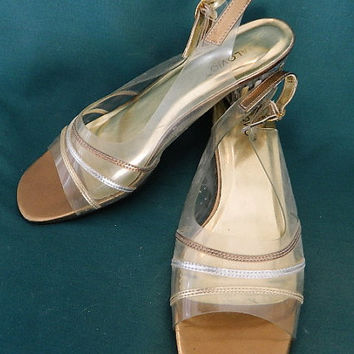 Vintage 1970's style clear shoes with metallic colors low heel size 7.5