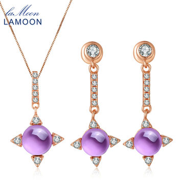 LAMOON Cross star 2.2ct Natrual Amethyst 925 sterling-silver-jewelry Rose Gold Jewelry Set Necklace Earring S925 Women V009-2