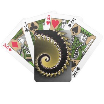 Fractal. Gold, silver, black. Bicycle Playing Cards