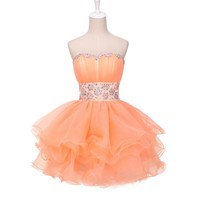 Grace Karin Short Prom Dress Strapless Voile Crystals Prom Gowns Orange Back to School Party Ball Gown Special Occasion Dress