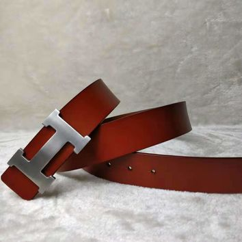 Hermes classic H letter buckle head men and women retro smooth buckle belt