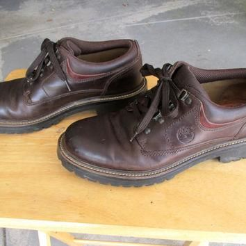 Vintage Men's Timberland Work Shoes Brown Style Number 80030 5027 Leather Genuine Leat