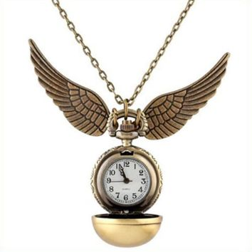 Shellhard Retro Elegant Harry Potter Snitch Pocket Watch Quidditch Wings Pendant Necklace Clock Ball Pocket Watch