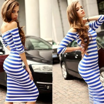 Summer New Fashion Sexy Off The Shoulder Knee Length Strapless Stripe Women's Dresses = 1876596292
