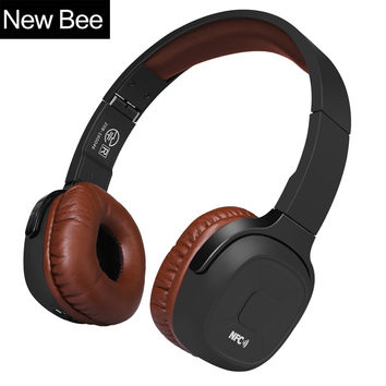 New Bee Upgraded Wireless Bluetooth Headphones Hifi Sport Headset with Case Pedometer App Mic NFC Earphone Stand for Phone PC