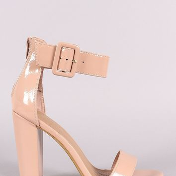 Bamboo Patent Buckled Ankle Strap Chunky Heel