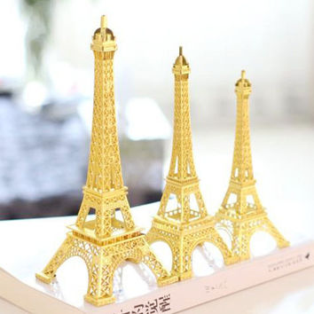 Metal Eiffel Tower Stand Paris France, Gold