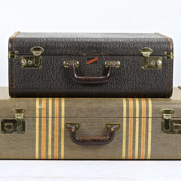 Suitcase Stack Of Two, Old Luggage , Antique Suitcases Stack Of Two