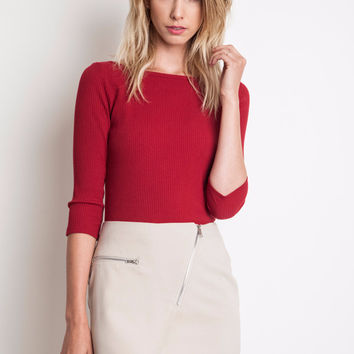 Burgundy Cropped Knit Top