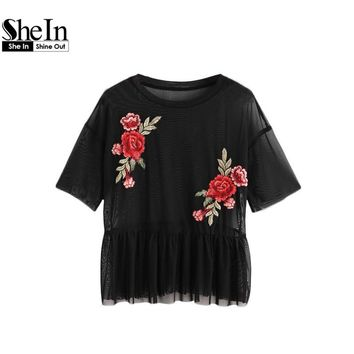 SheIn Drop Shoulder Flower Patch Tulle Peplum Top Black Embroidered Short Sleeve Female Summer Blouses Women Sexy Blouse