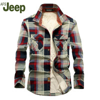 AFS JEEP 2016 autumn and winter  new men's long-sleeved shirt plus thick velvet warm plaid shirt large size men's shirts 99