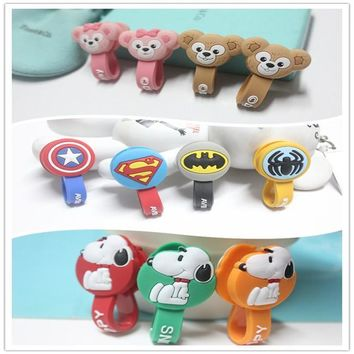 Batman Dark Knight gift Christmas 10pcs/lot Batman,Superman Cartoon USB Charging Cable Wire Organizer Cord Holder Headphone Earphone Cable Winder For Samsung HTC AT_71_6