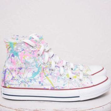 VONE05D adult lowtop or hightop splatter painted converse or vans sneakers adult size 3 5 12
