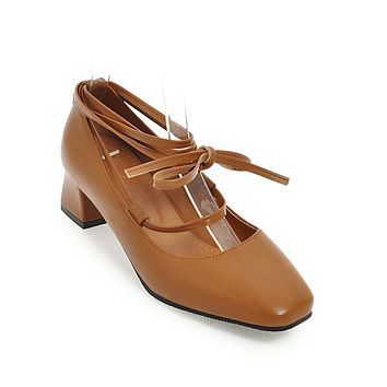 Square Toe Cross Strap Mid Heel Pumps Shoes 9375