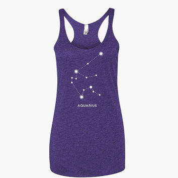 Aquarius Constellation Racerback Yoga Tank Top - Long tunic length workout shirt - yoga tank zodiac astrology birthday gift Aquarius gift