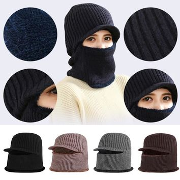 Windproof Knitted Hat With Visor