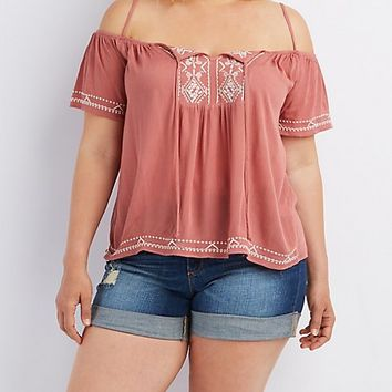 Plus Size Embroidered Tie Front Top