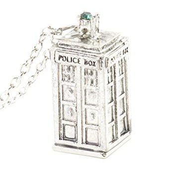 Police Box Necklace Antique Silver Tone British UK Charm Pendant NR49 Fashion Jewelry
