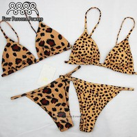 Four Persons Powers Bikini 2017 Push up sexy Spot Leopard Swimwear Women Bathing Suit NK154