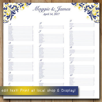 "Wedding Seating Chart Template | Navy Blue Yellow  ""Maggie"" Microsoft Word Template 