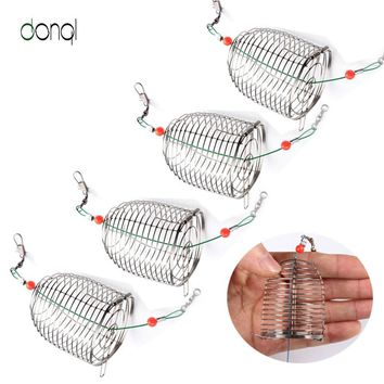 5pcs Stainless Steel Wire Fishing Lure Conical Cage Fish Bait Lure Fishing Accessory Bait Cage Fishing Trap Basket Feeder Holder